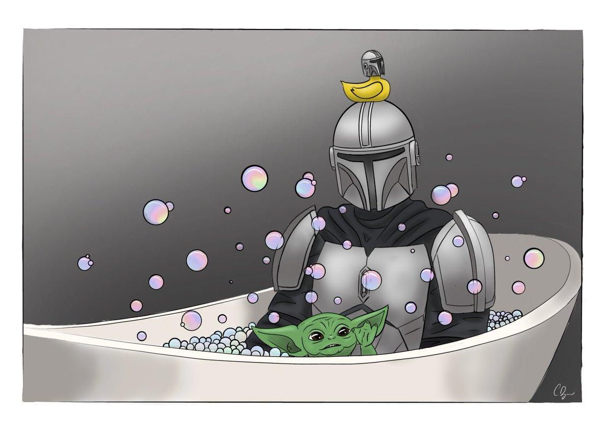 Bath time with #mando and #BabyYoda   Peep the mando duck! #TheMandalorian #mandalorian #StarWars #mandadlorian #Disney #DisneyPlus #fanart #digitalart #mandalorianfanart  Link to tiktok video for drawing process: https://t.co/mNvF7qt1AS https://t.co/IKBXlq1dsF