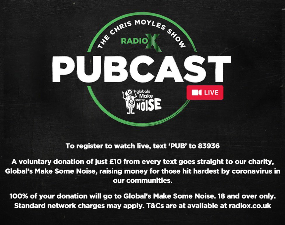 Tonight we will be LIVE for this years Pubcast. Text PUB to 83936, you'll give £10 to our charity and get to watch us drunken fools tonight. Thanks.
