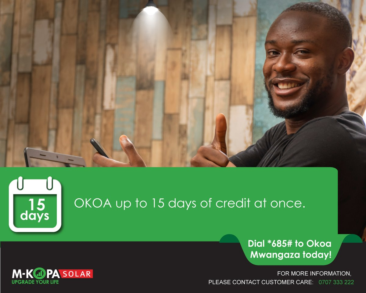 Did you know that our qualifying customers can now Okoa up to 15 days of credit at once? Simply dial *685# to receive a lighting loan. #OKOAMwangaza #StaySafe https://t.co/QY4gqbznzq