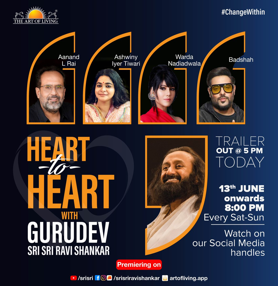 Season 2 of #HeartToHeart with Gurudev @SriSri is here, and we're excited! Coming up this season: @aanandlrai @Its_Badshah @arjunk26 @varunsharma90 @Ashwinyiyer @WardaNadiadwala @iamDivyaKhosla  Trailer's out at 5 PM today. Keep watching this space!