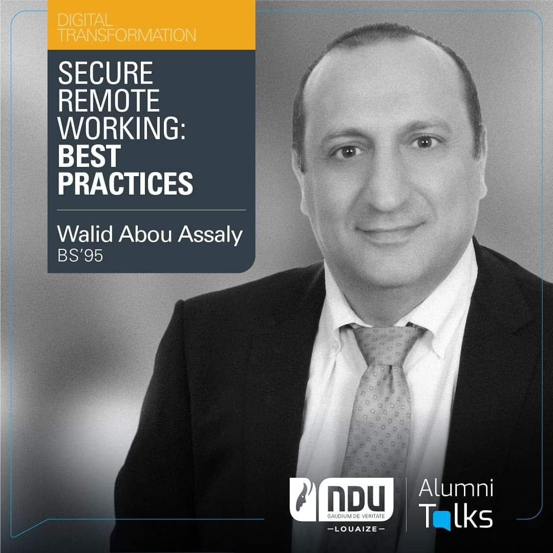 "June 13th at 11 a.m. is the time to learn all about ""Secure remote working: best practices"" with Alumnus Walid Abou Assaly (BS'95), Director, head of IT Audit at SGBL – Vice President & Treasurer of ISACA - Lebanon Chapter in the latest #AlumniTalks!  https://t.co/MVG5JtOweR https://t.co/bP9FdxhLgd"