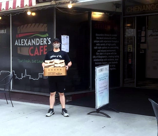 Our hero is Alex, owner of Alexander's Cafe in Binghamton, NY. For 12 weeks he's provided about 250 free lunches for kids (& meals for adults in need), & 30 meals weekly to @NYUHSINC healthcare workers. His $500 #HeartofaHero award went to the OurSpace playground reconstruction. https://t.co/Lwm89yZZPB