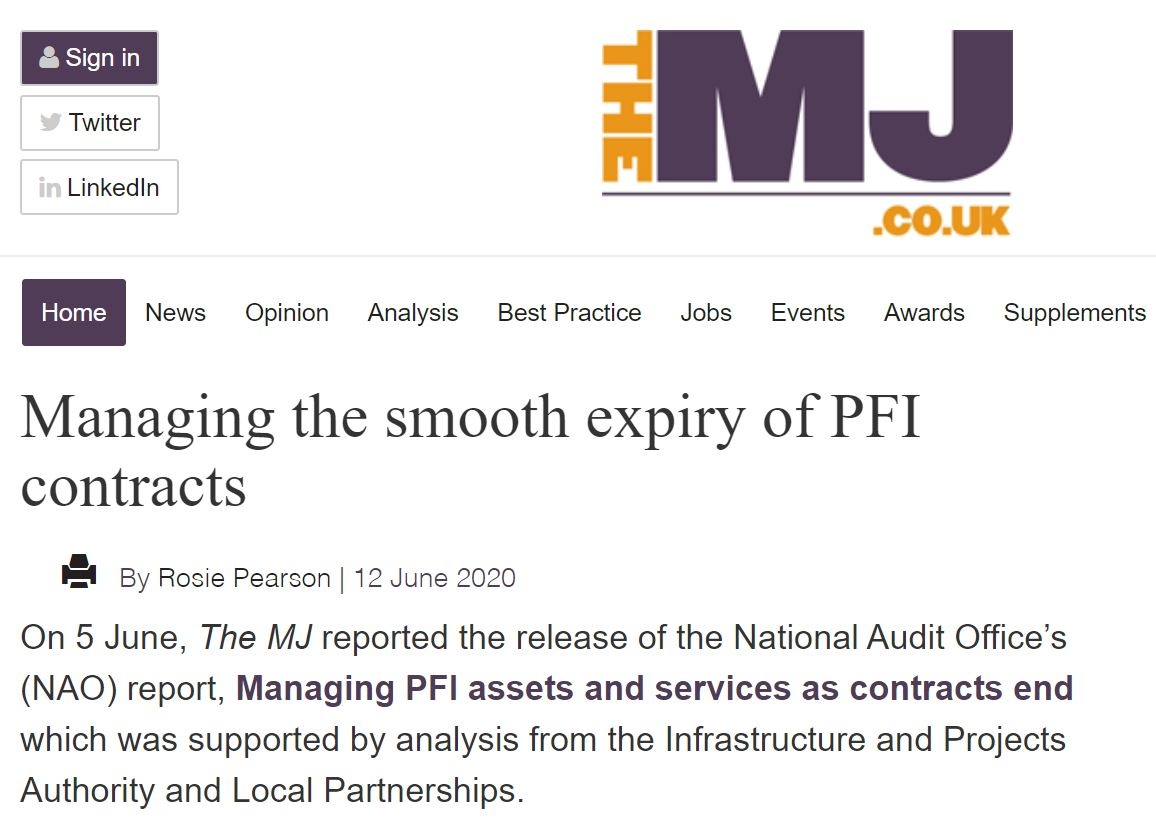"""The end of a contract may seem a long way into the future, however over 50 operational PFI contracts will expire by 2025. This rises to around 200 contracts over the next 10 years""  #READ @lp_rosiepearson's ""Managing the smooth expiry of PFI contracts""  👉https://t.co/bvO3AlyPir"