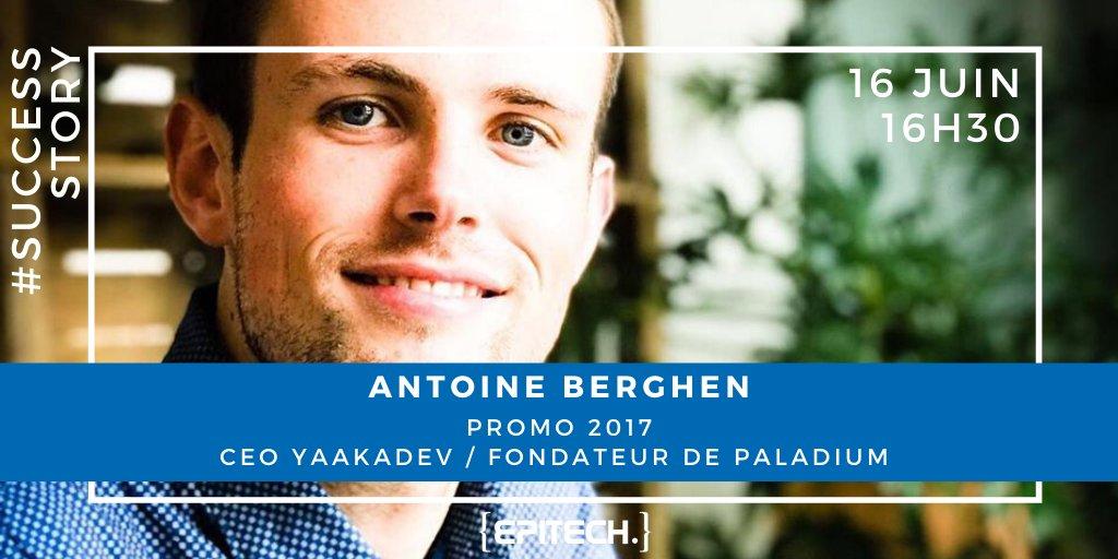 #SuccessStory Rendez-vous le 16 juin à 16h30 pour découvrir le témoignage d'Antoine Berghen, alumni promotion 2017 d'Epitech #Rennes, CEO de Yaakadev et fondateur de Paladium Co-Working Space. https://t.co/pcgfVj02GG https://t.co/VXkK18th4T
