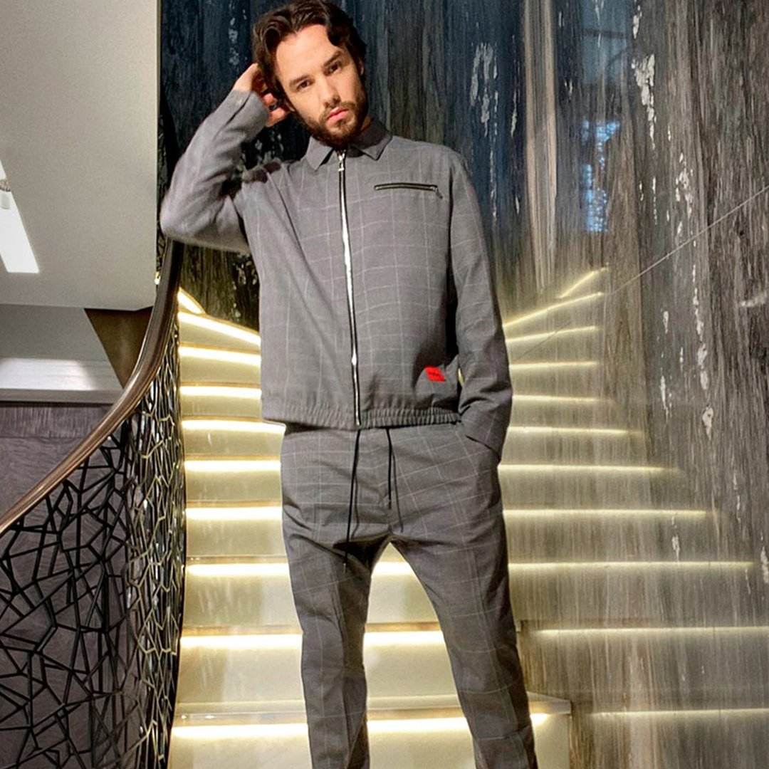 I'm wearing a check track-suit by HUGO in this photo - an easy silhouette but with some nice little elegant touches - the ultimate lockdown style! @LiamPayne shares his ultimate #LFW #FashionAtHome fit. See more: bit.ly/FashionAtHome