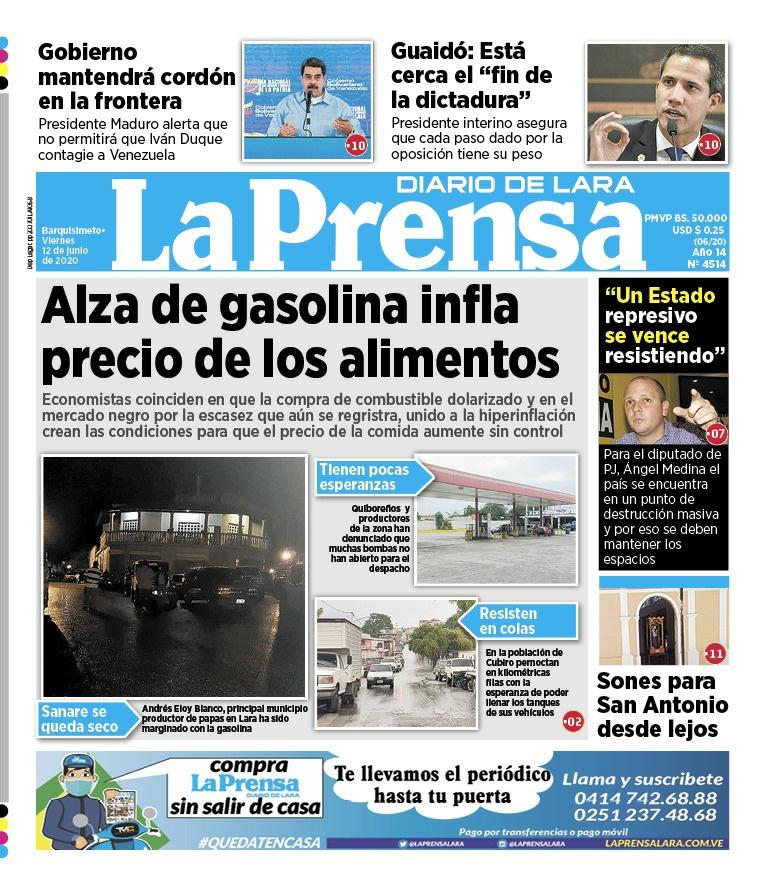 Primera Página de La Prensa de Lara