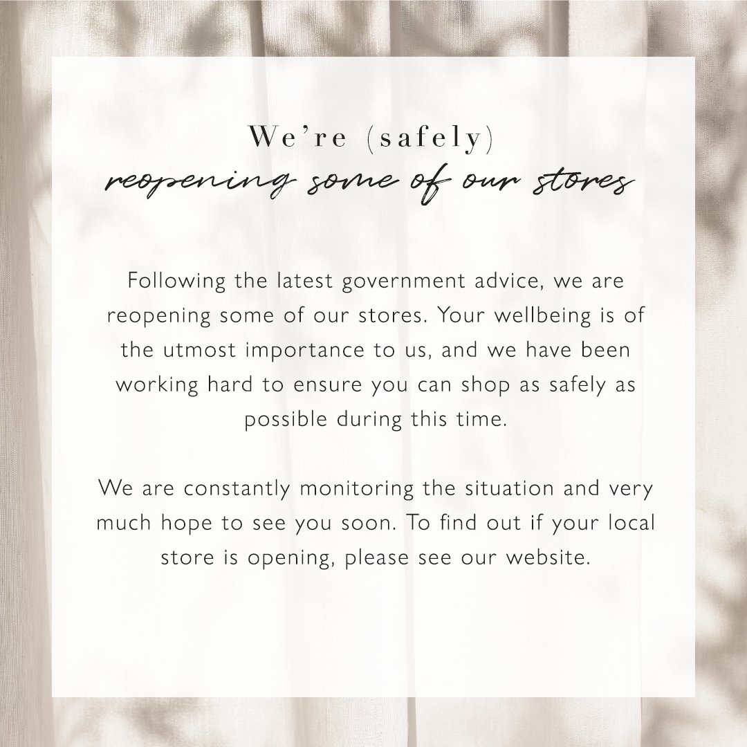 Following the latest government advice, we are reopening some of our stores from 15th June. Your wellbeing is of the utmost importance to us, and we have been working hard to ensure you can shop as safely as possible  https://t.co/E6LELCzyub https://t.co/ncMTXBrRXz