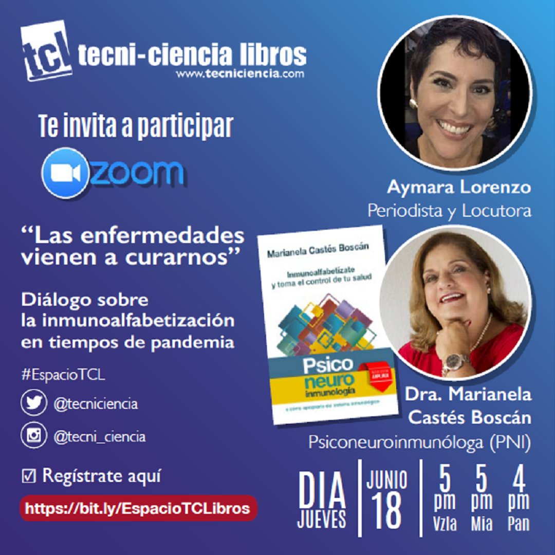 #MarcaLibro | Estreno de #EspacioTCL de @tecniciencia   Apreciado lector acompáñanos en este diálogo sobre la inmunoalfabetización en tiempos de pandemia, junto a la Dra. @MarianelaCastes  y la periodista @aymaralorenzo   [Hilo} https://t.co/RUgDmnFEUK