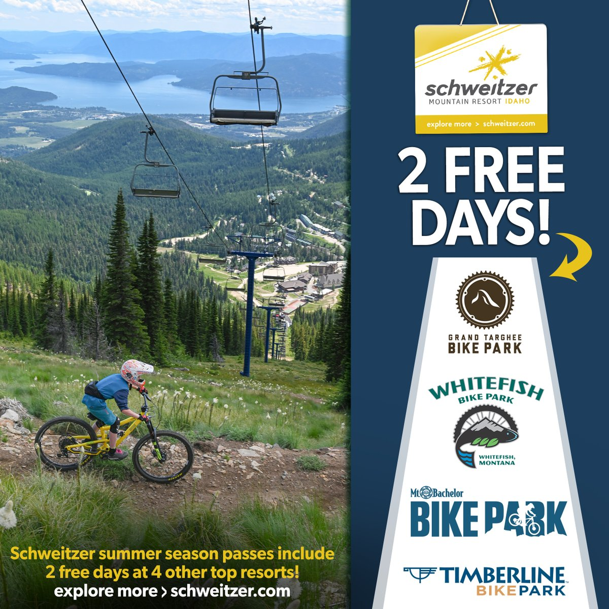 Schweitzer opens for summer 2 weeks from today! Did you know your Schweitzer Summer Season Pass gets you 2 FREE days each at @grandtarghee, @SkiWhitefish, @mtbachelor & @timberlinelodge #BikeParks?!? https://www.schweitzer.com/plan/summer-season-passes/ … #schweitzerlife #summer #bikepark #mountainbikepic.twitter.com/vizkTkAyet