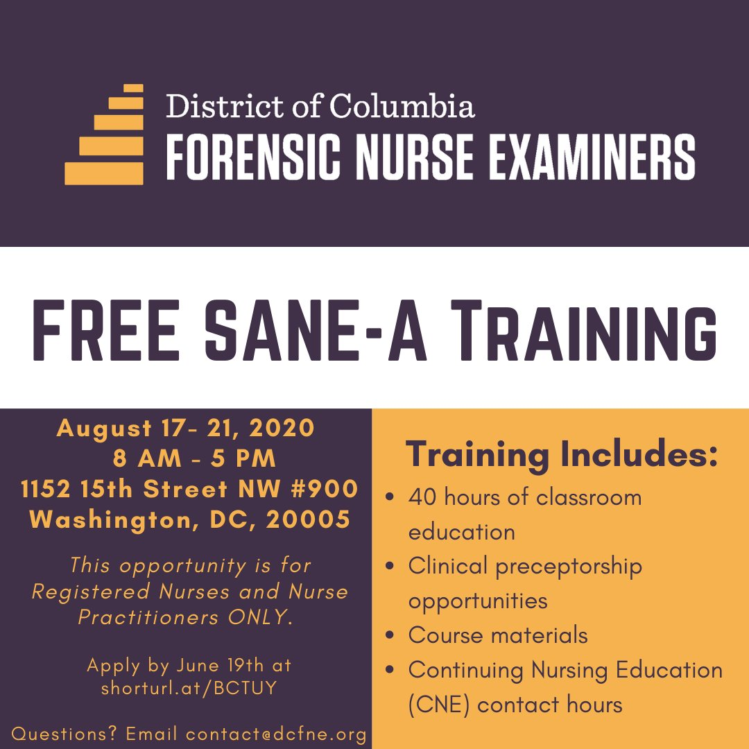 Dc Forensic Nurse Examiners On Twitter Calling All Registered Nurses And Nurse Practitioners Apply For Our Free Sane A Training Only One More Week To Apply Deadline Is June 19th Apply Here Https T Co Mq0z7g2nsj