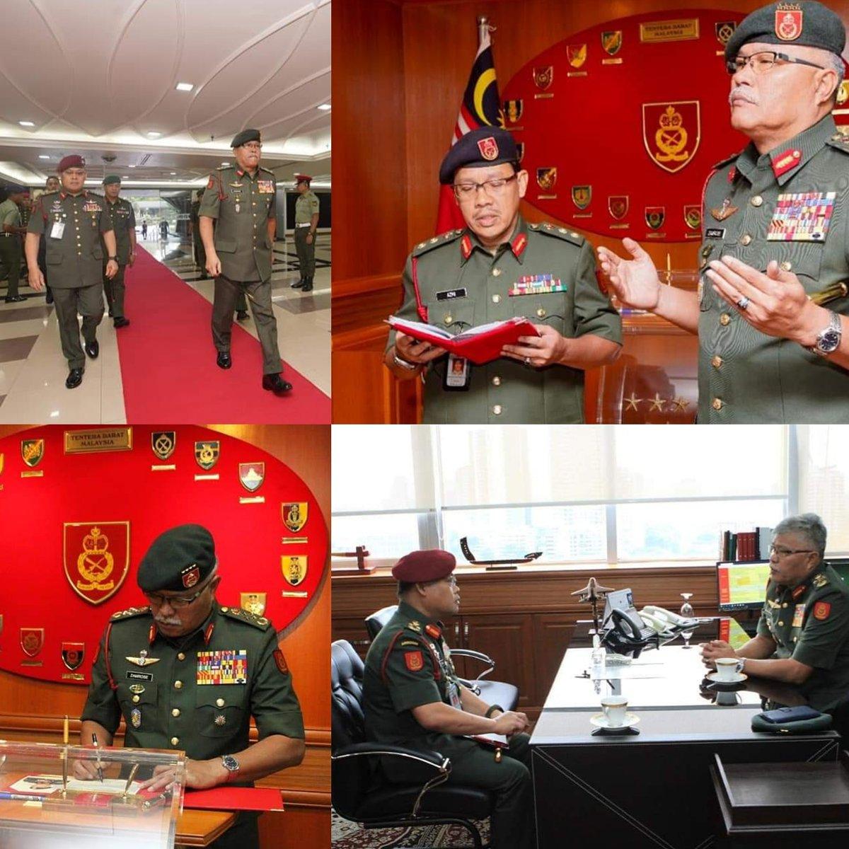 Jeneral Datuk Zamrose bin Mohd Zain secara rasminya memulakan tugas sebagai Panglima Tentera Darat Ke-28 di Wisma Pertahanan pada 12 Jun 20 setelah mengambil alih tampuk pemerintahan dari Jeneral Tan Sri Dato' Seri Panglima Haji Ahmad Hasbullah bin Haji Mohd Nawawi pada 11 Jun 20 https://t.co/g1aLQrve6c