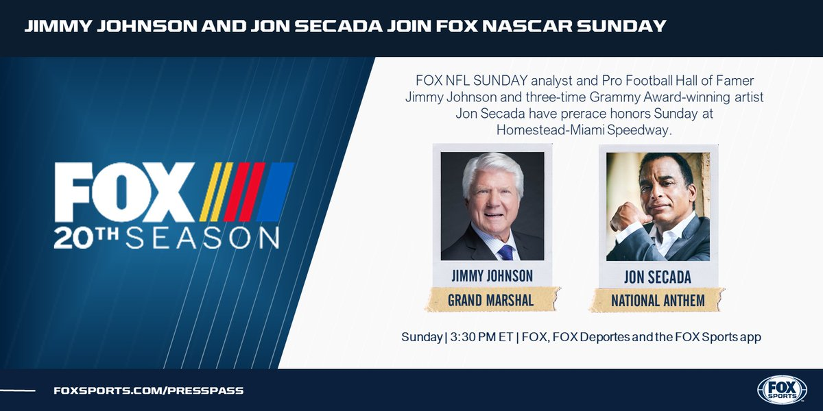With FOX NASCAR in Miami this weekend, two of south Florida's own have prerace honors. @JonSecada performs the national anthem, and @JimmyJohnson gives the command to start engines on Sunday.   Sunday | 3:30 PM ET | FOX, FOX Deportes and the FOX Sports app https://t.co/zrcALH6fIh