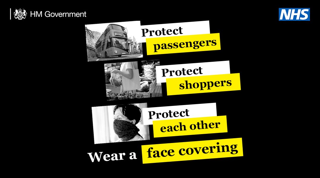 From Monday, face coverings will be mandatory on public transport in England.   You can help protect others by wearing one wherever you might be in an enclosed public space. https://t.co/Cq7tyubC6t