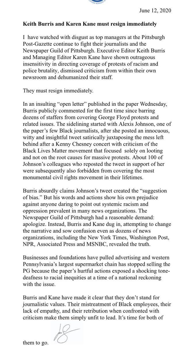 The News Guild president calls for Post-Gazette leadership Keith Burris and Karen Kane to resign —