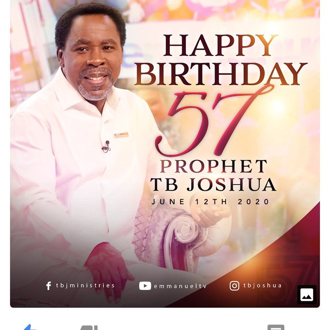 Happy 57th birthday Prophet T.B Joshua. May the Lord continue to fill you with His Grace in abondance.