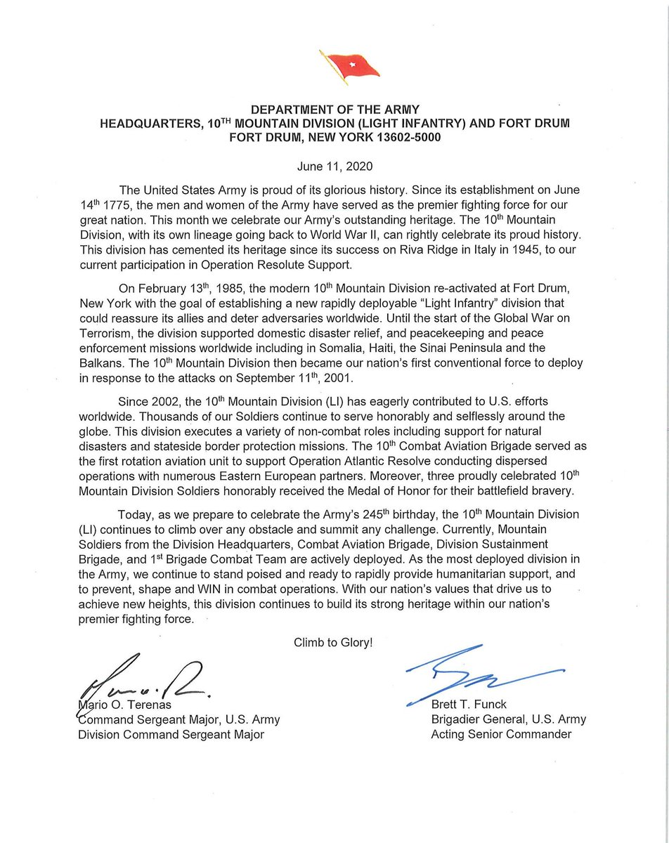 Good morning Mountain Family, check out this message from the 10th MTN DIV Command Team. #ClimbToGlory!