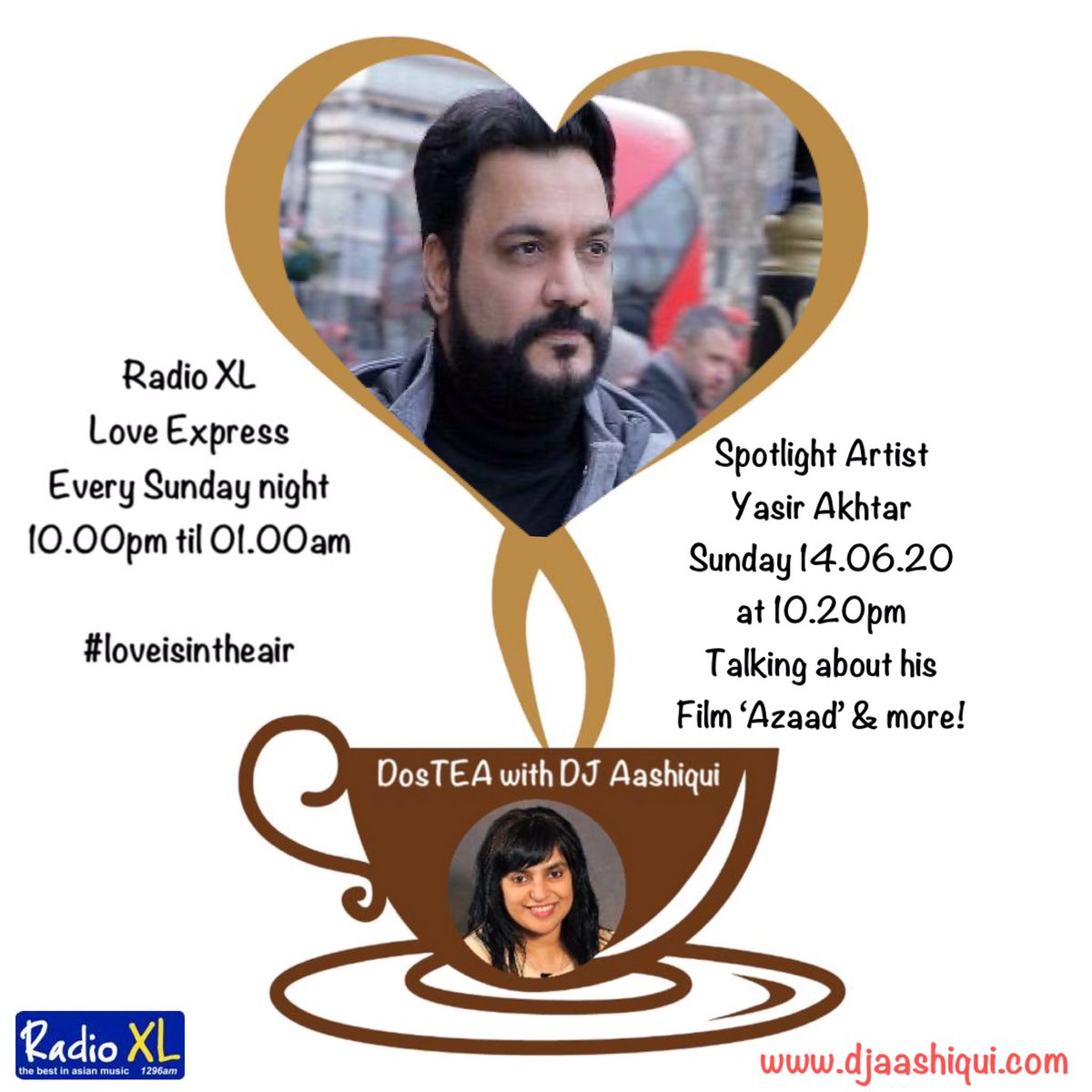 DosTEA with @DJAashiqui 14.06.20 at 10.20pm. Exclusive Interview with multi talented icon, film maker, singer, actor, director/producer @Yasir_Akhtar_ on the success of his Film 'Azaad', Sufi song 'Saiyaan', future projects, love & more! #TuneInForLove https://t.co/NhvgSDefPp ❤️ https://t.co/m6qKsgg8um