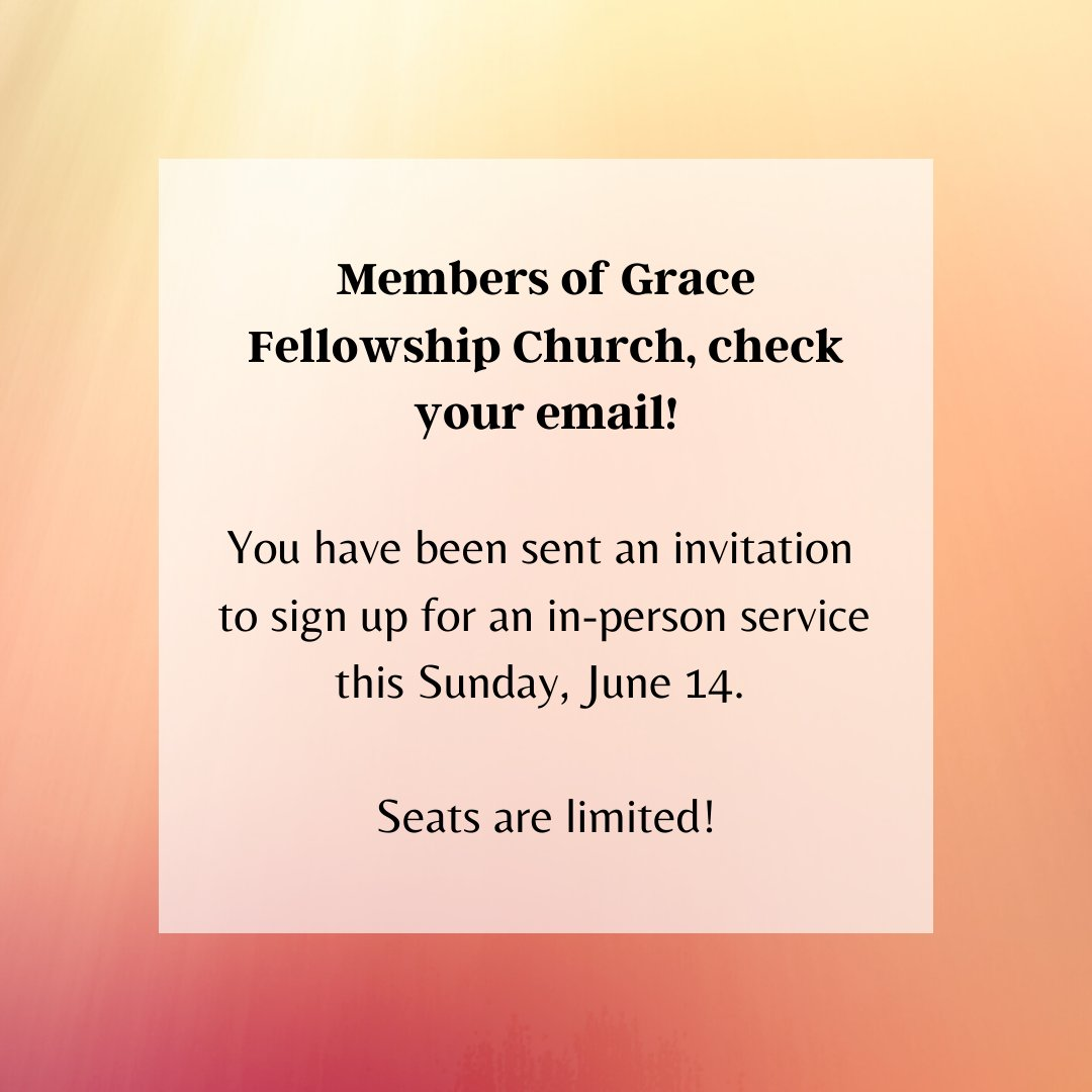 We have limited seats available this Sunday. Emails with information on how to reserve a seat have been sent to our members. Our online service will continue to be shared - look for it Sunday afternoon on our YouTube channel.