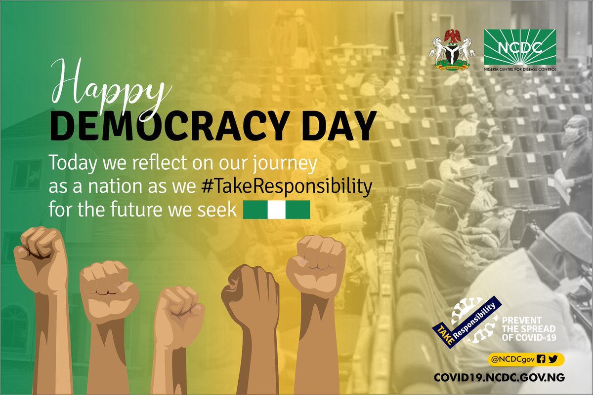 Despite the difficulties faced as we respond to the #COVID19 pandemic, we remain focused and committed to our mandate of protecting the health of all Nigerians  We reflect on our journey as a nation & #TakeResponsibility for the future we seek  Happy #DemocracyDay <br>http://pic.twitter.com/z0tKorhHqB