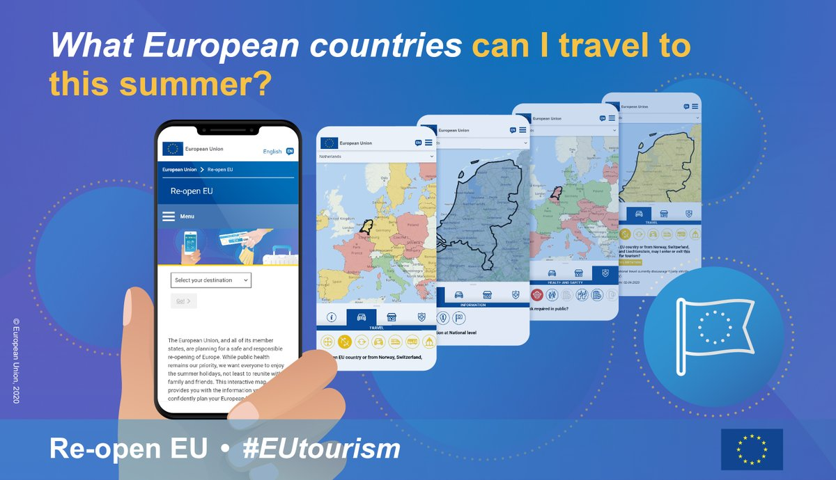 Eager to reunite with friends and family abroad? To plan your summer holidays? We are launching https://t.co/cg6xndems2 a website in all EU languages that provides real-time essential travel information so you start exploring Europe safely again. #EUtourism https://t.co/XHmPajuE2H