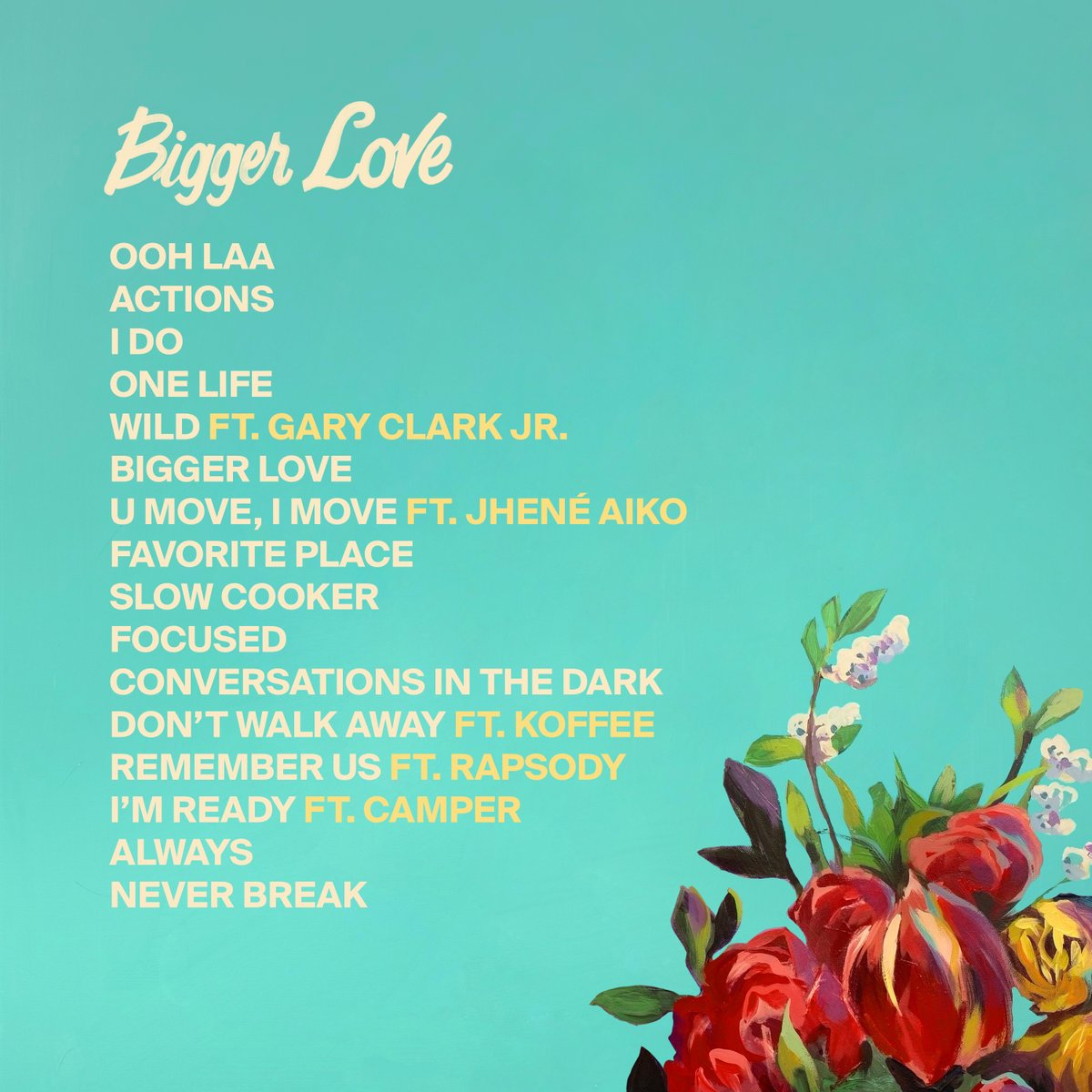I'm so excited to introduce my new album #BiggerLove to the world.  Here's the album cover painted by brilliant artist Charly Palmer.  Check out the track list, including my amazing featured guests.