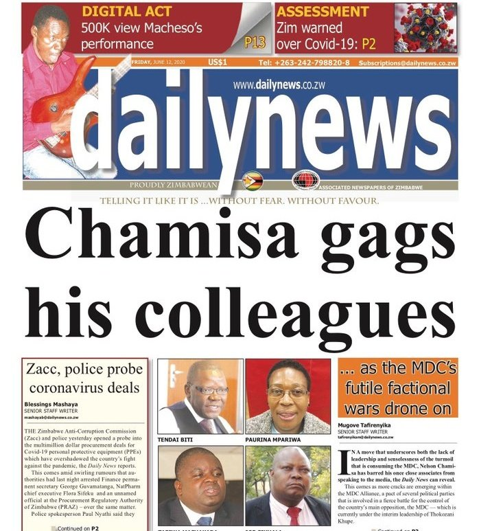 12 June 2020 front page of @dailynewszim