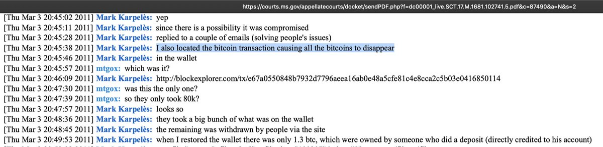 "Just so we're clear, Craig Wright has just openly admitted (via his lawyers) to be the guy that stole 80k BTC from Mtgox. The screenshots below show the court documents indicating the ""1Feex"" address is where the stolen Mtgox funds were sent. What do you have to say, @CalvinAyre? https://t.co/Yh1esDar6J"