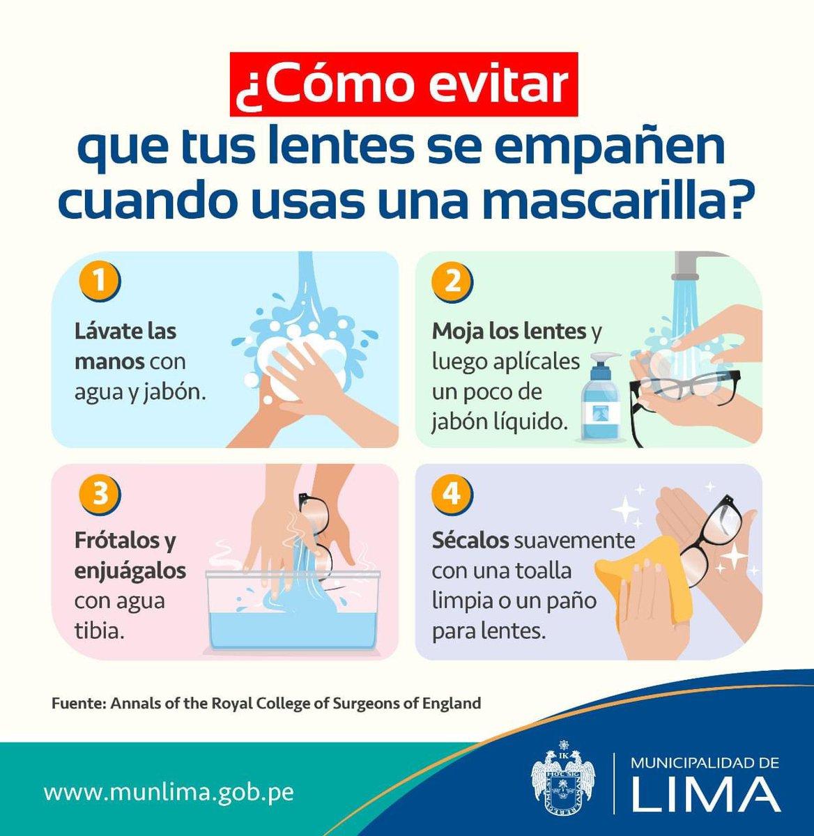 ¿Usas lentes? Toma nota de este consejo para evitar que se empañen al usar una mascarilla. #EnLimaNosCuidamosTodos