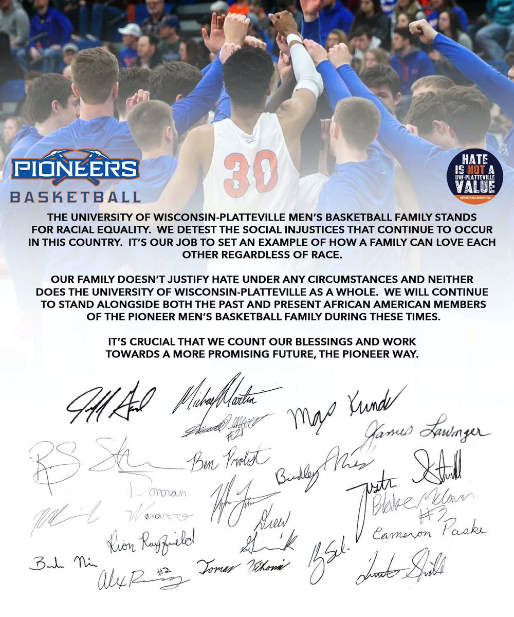 A statement from our players #BlackLivesMatter #SwingTheAxe #PlattevilleFamily https://t.co/FD3WYt2wD9