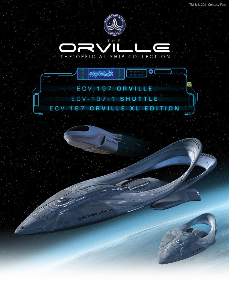 Hey all, direct from our friends at @HeroCollector_ ,  @TheOrville Official Ship Collection starts pre-orders next week. The XL hopefully ships early Aug., the smaller ECV &  shuttle will ship early Sept. Link below.  #TheOrville @hulu @planetary_union 🚀