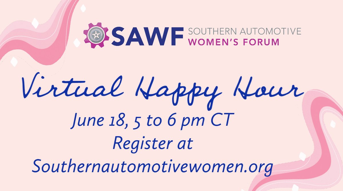 Join us next Thursday with your favorite beverage. Then sit back, reflect and share with other women in automotive. Register: https://t.co/w782KESDGv. #womeninautomotive #automotivewomen #networking https://t.co/GDtT0ddhLj