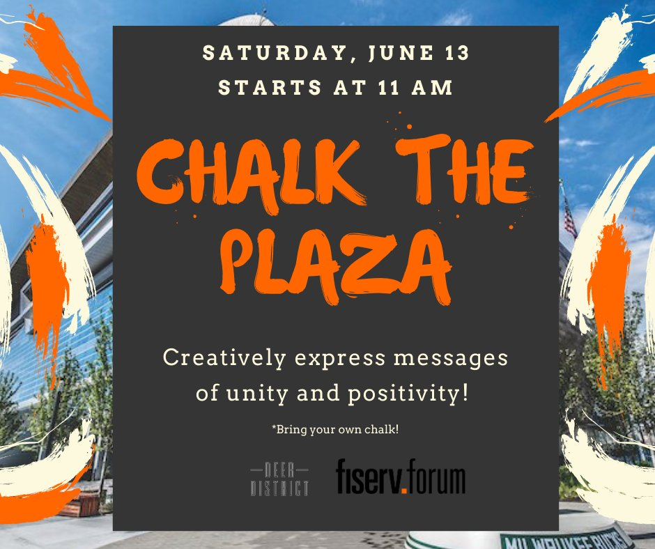 We invite you to creatively express messages of unity and positivity on the plaza at Fiserv Forum tomorrow beginning at 11AM 🎨 https://t.co/Pbduf5MhZi