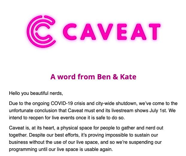CAVEAT (@caveatnyc) | Twitter