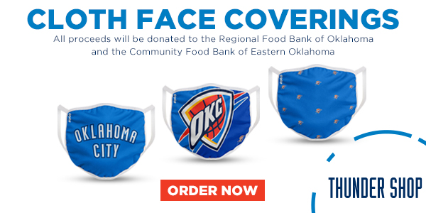 We have teamed up with the @okcthunder ! All proceeds from the sale of these cloth face coverings will be donated to the Regional Food Bank and @okfoodbank.   Order now through the Thunder Shop // https://t.co/4WOxWFFQMi https://t.co/G9uau6DORc