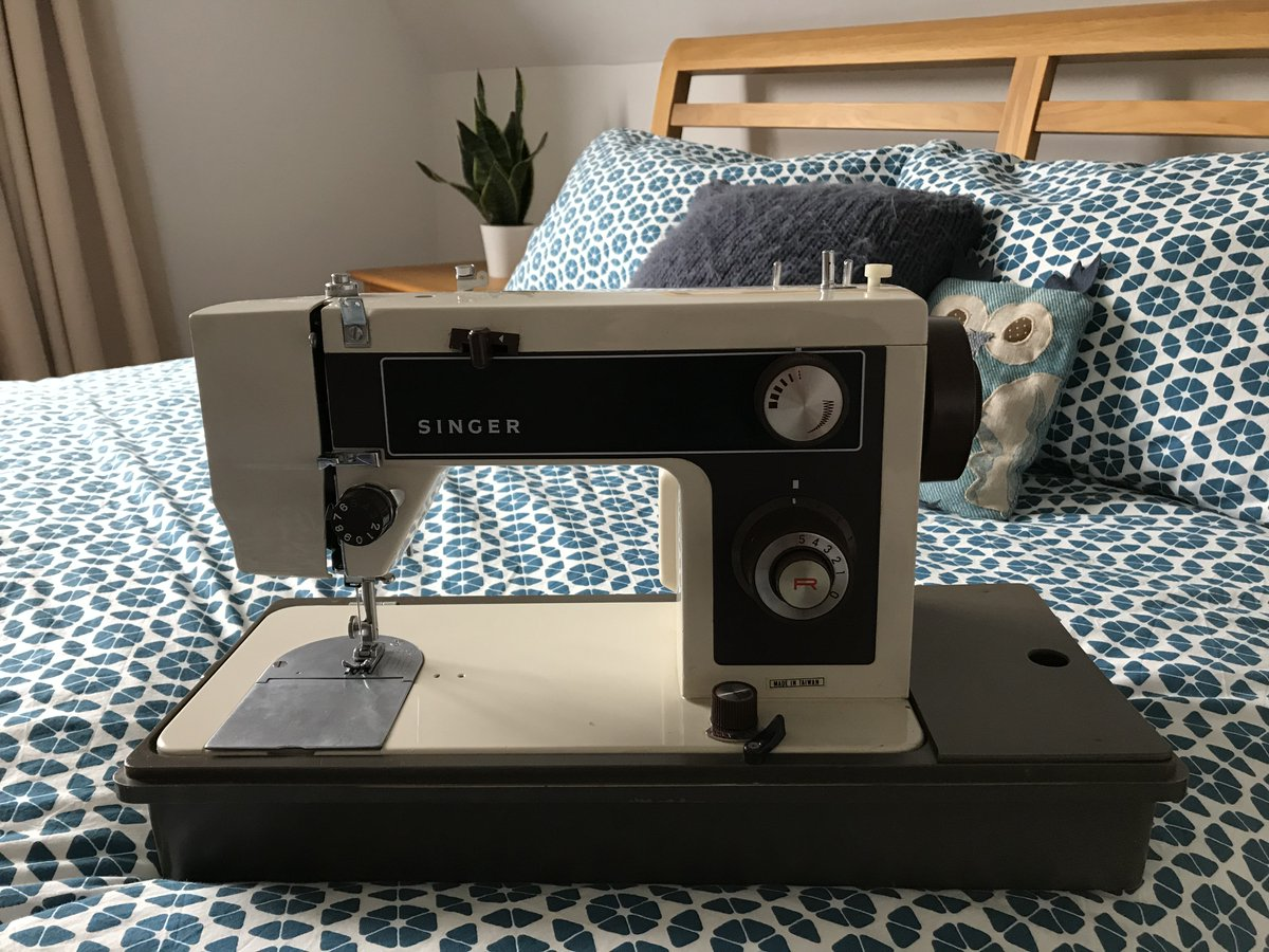 #womaninbizhour, this is my old faithful sewing machine. My parents bought her for my 13th birthday so she's ** years old now, but still going strong.   Show me yours! #SewingBee #sewingmachine #crafting<br>http://pic.twitter.com/1t6wVy5MKA