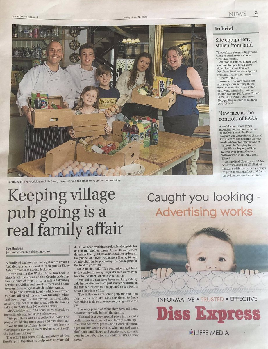 Great write-up @StokeWhiteHorse in today's @Diss_Express !!  Well done Shane, Anne, Ebony, Jack, Harry & Annie #smellsliketeamspirit pic.twitter.com/mMTSgpPkhS