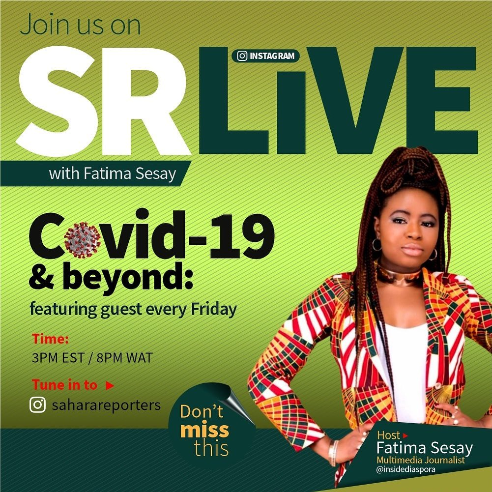 """Tune in TODAY for another edition of """"SR LIVE"""" with host Fatima Sesay (@insidediaspora) at 3PM EST (8PM WAT) on @SaharaReporters to discuss #DemocracyDay, the Coronavirus Pandemic and its global impact. You do not want to miss it!  TUNE IN HERE:  http:// bit.ly/1Sjq0Ou    <br>http://pic.twitter.com/KbDLPxz6it"""
