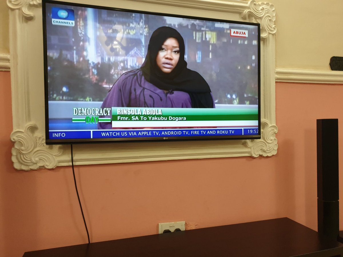 Who's watching @RinsolaAbiola on @channelstv #DemocracyDay Special?  Baby girl is spitting fire, speaking up for women & young people and why they should be included in politics. Well done girl friend! <br>http://pic.twitter.com/cBw34b9P30