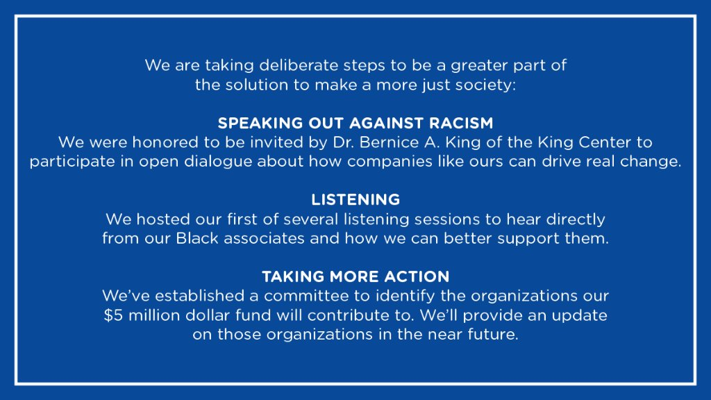 As a company, it's our responsibility to better support our Black associates, customers and allies. We know there is more work to do and will keep you updated on our progress, this is only the beginning. Black Lives Matter. https://t.co/DxScre83q4