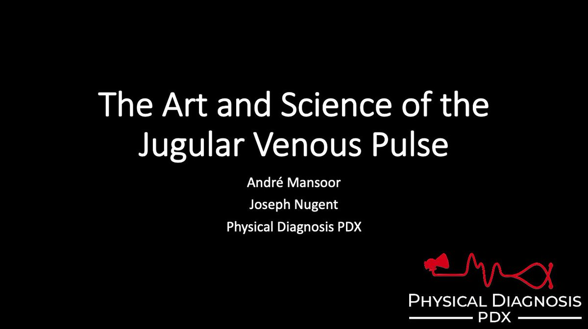 Physical Diagnosis PDX is hosting a free 1-hour virtual lecture where I will be discussing the jugular venous pulse on Tuesday 6/16/2020 @ 5pm PST (8pm EST). All are welcome whoever and wherever you are. Join us: zoom.us/meeting/regist… #MedEd #MedStudentTwitter #cardiotwitter