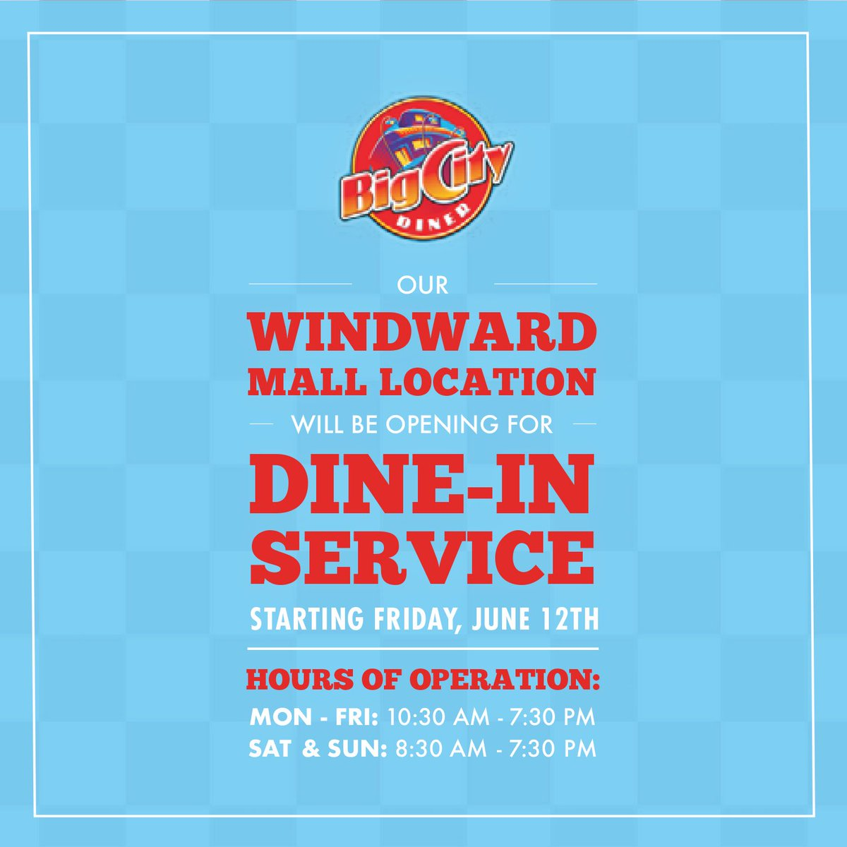 @BigCityDiner at @WindwardMall is NOW OPEN for DINE🍔IN, TAKEOUT & HOME🚗DELIVERY from 10:30 am-7:30 pm (Monday-Friday) & from 8:30 am-7:30 pm (Saturday & Sunday) #BigCityDiner #WindwardMall #HAWAII #Fish #ComfortFood #Breakfast #Lunch #Dinner #Yummy https://t.co/CQHfH5T6tt