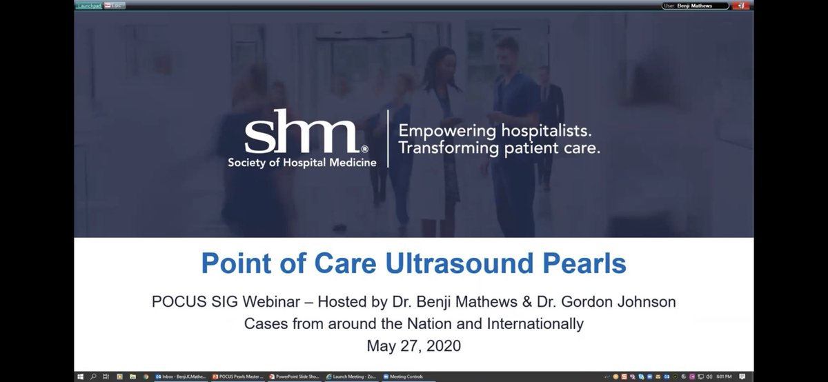 """Next SHM #POCUS webinar """"Pearls & Pitfalls"""" July 28th 4 pm EST Short targeted cases with brief discussions & mp4 Submit you case by June 30th to kvuernick@hospitalmedicine.org 7 cases will be choosen @MDbenji @nilamjsoni @trevorjensen14"""