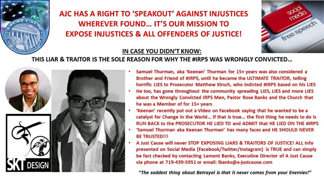 .@innocence Innocent men spent 8 yrs in prison because of Sam Thurman!! He lied in his testimony, which resulted in their wrongful conviction! A Just Cause is exposing the truth! #IRP5 For more info contact Lamont Banks  @AJCExecDir 719-439-5951pic.twitter.com/jjBwuEoLtI