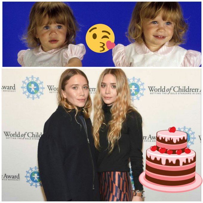 Happy birthday Mary-Kate and Ashley Olsen       . Thank you for unforgettable childhood
