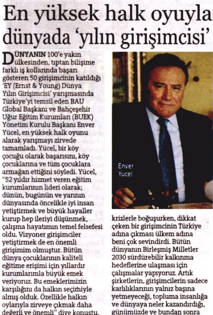 BAU Global Başkanı @EnverYucel, dünya zirvesinde👏👏🏆  @BKkarsiyaka @NukteTeber @bahcesehir_k12 https://t.co/pGAFTpNWZS