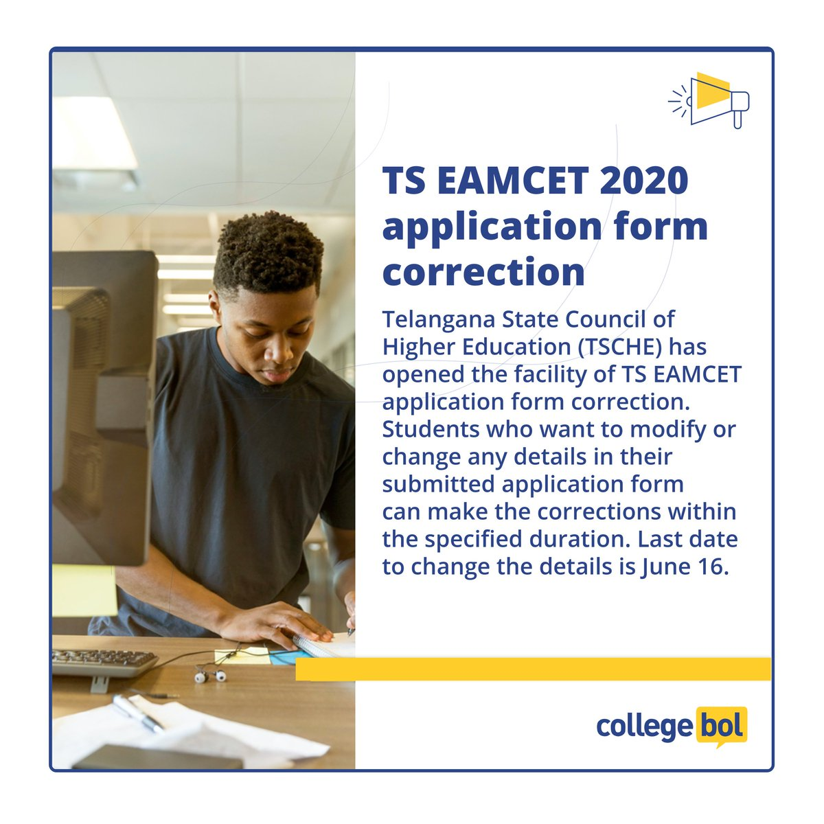 Exam Alert: Apply Now! TS EAMCET 2020 application form correction facility starts.  The facility is available online on the official website http://eamcet.tsche.ac.in  #studentlife #studytips #college #collegelife #schoollife #ss #ExamAlert #tseamcet #OnlinePreparation #collegebolpic.twitter.com/47vhbmWDoL