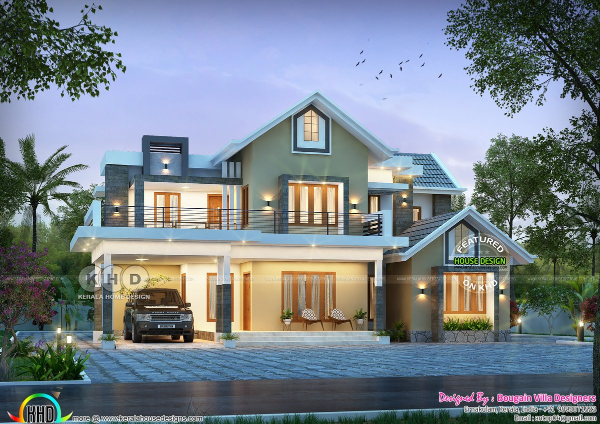 Kerala Home On Twitter Cute Modern Mixed Roof Home Https T Co Uaavzujruv