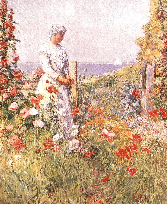 """Celia Thaxter in her Garden, 1892, Smithsonian Institution"" ""Church at Old Lyme, oil on canvas, 1905"" ""The Water Garden, c. 1909"" ""August Afternoon, Appledore, 1900"" Frederick Childe Hassam (October 17, 1859 – August 27, 1935) was an American Impressionist painter."