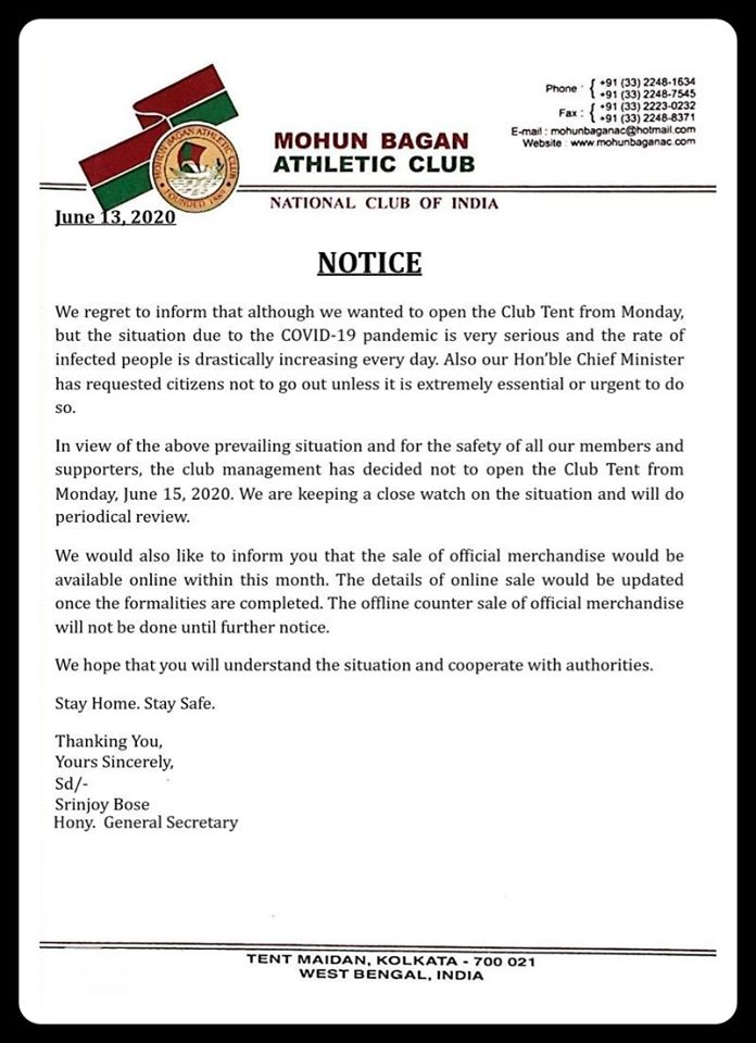 Important update from the Club Management #MohunBagan #covid19