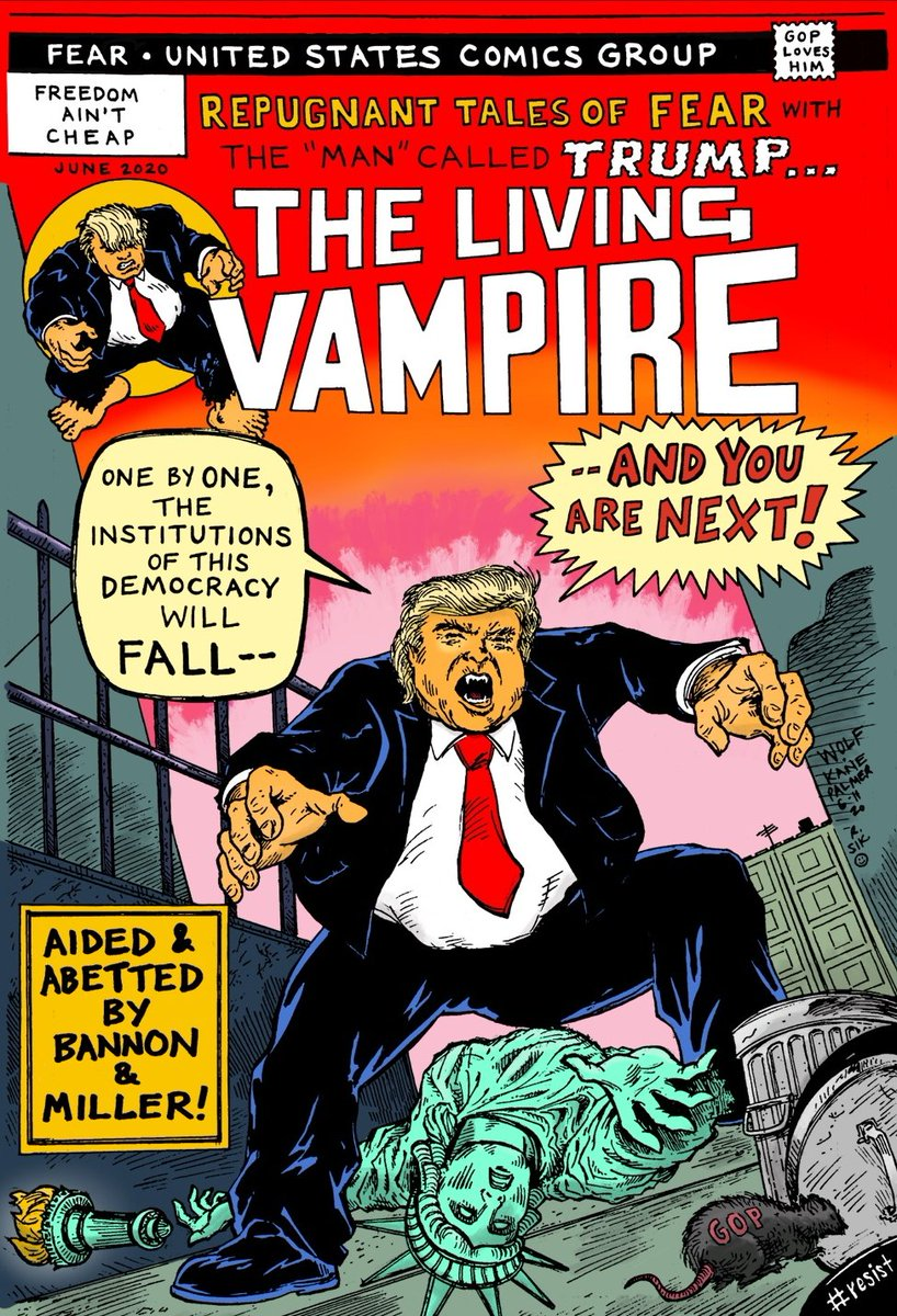 Morbius homage cover + Trump protest piece by @tonywolfness with colors by me. #TrumpDeathToll100K #TrumpDictatorship #TrumpRecession<br>http://pic.twitter.com/F1Muo8hdVq